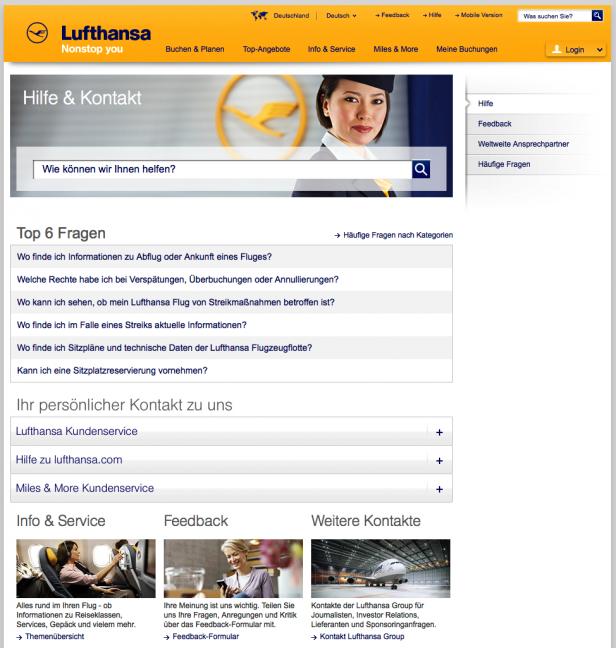Kontakt-Seite lufthansa.com