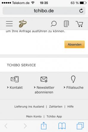 Kontaktseite Tchibo.de auf Smartphone