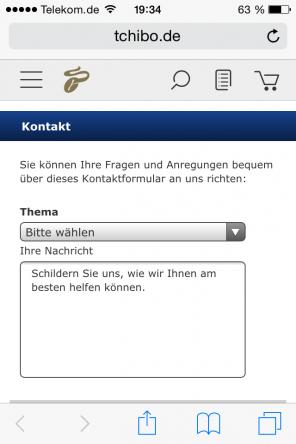 Tchibo.de auf Smartphone