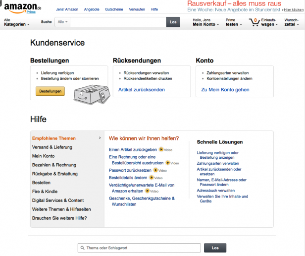 Screenshot Hilfeseite Amazon