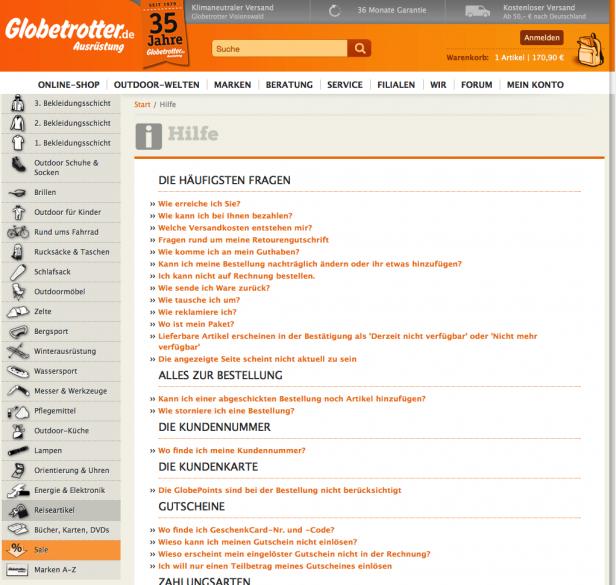 Screenshot Hilfe-Seite Globetrotter