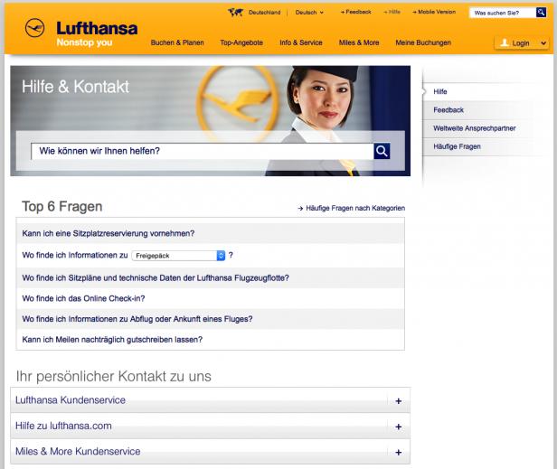 Screenshot Hilfe-Seite Lufthansa