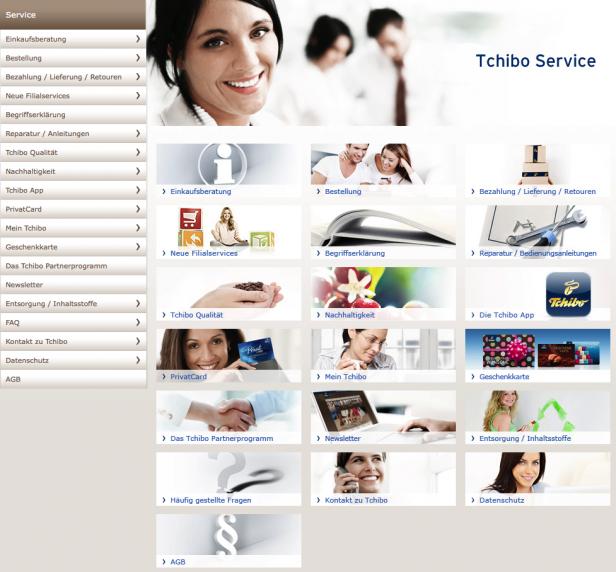 Screenshot Service-Seite Tchibo