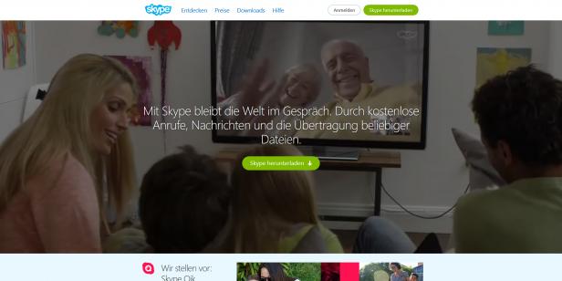Skype zeigt nur durch Bilder in einem Video worum es geht, welche Zielgruppe angesprochen wird und welche Gerätetypen von der Software unterstützt werden