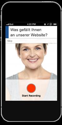 Beispiel für ein Mobile-Testing-Feature: Teillnehmer nehmen ihre Antworten per Smartphone auf