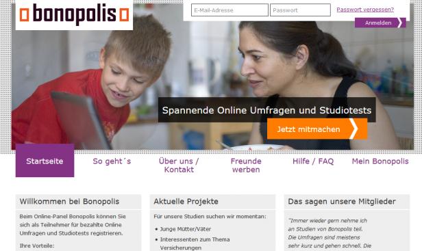 Aktueller Screenshot der Homepage von Bonopolis.de
