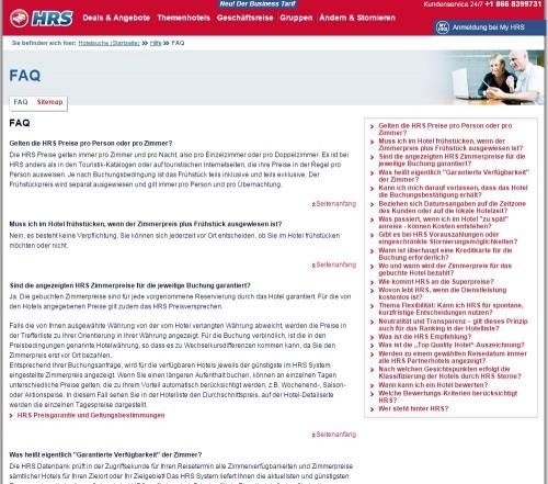 Abb. 1: Die FAQ-Seite von HRS wirkt unübersichtlich, obwohl die Anzahl der Fragen überschaubar ist