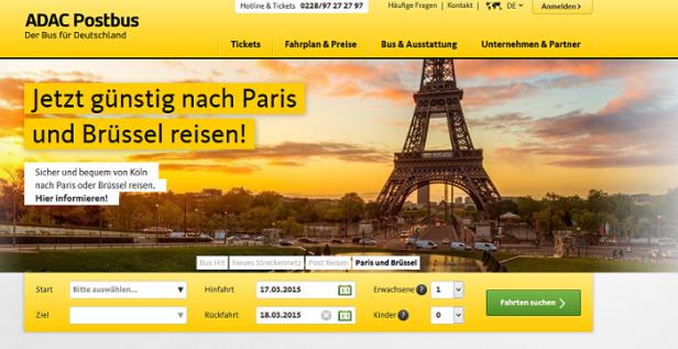 Abb. 1: Gelber Farbclaim auf adac-postbus.de
