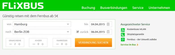 Abb. 4: Flixbus.de - Erwartungskonforme und effiziente Eingabemaske
