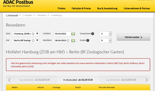 Abb. 8: Fehlertoleranz am Beispiel adac-postbus.de