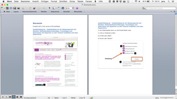 Screenshot von Clarify erstelltes Word-Dokument