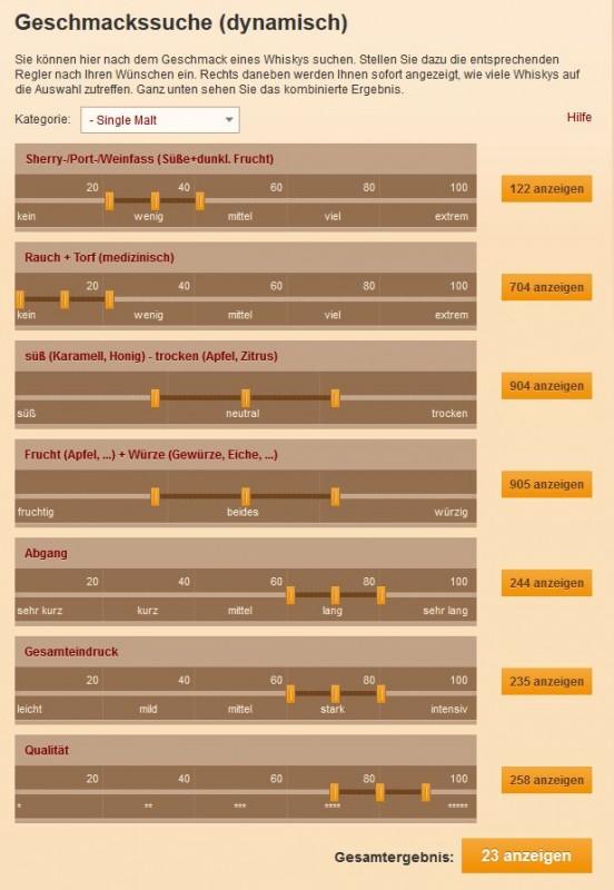 """Abb. 3: """"Geschmacks-Suche"""" für das große Sortiment an Whiskys auf www.whisky.de"""