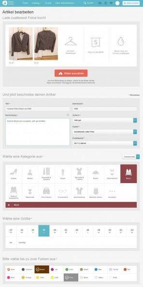 Abb. 3: Für wieder mehr Platz im Kleiderschrank – Ein Intuitives Eingabeformular für das Einstellen eines Artikels auf kleiderkreisel.de
