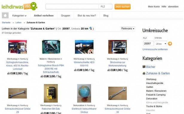 Abb. 4: Auf leihdirwas.de kann man sich fast alles leihen, jedoch lässt die Filterfunktion der Suchergebnisse etwas zu wünschen übrig