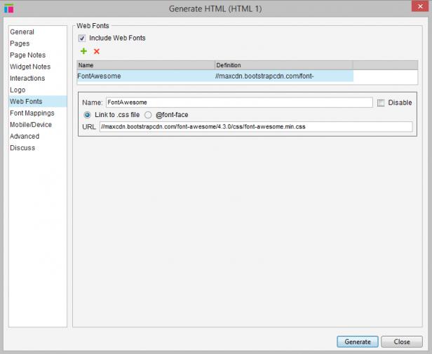 FontAwsome kann als Webfont in Axure eingebunden werden