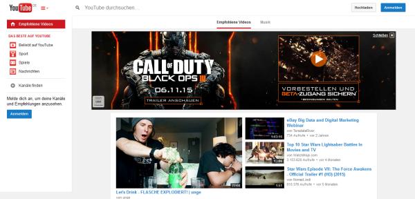 YouTube setzt auf Content. Bei Bedarf kann das versteckte Menü aufgerufen werden