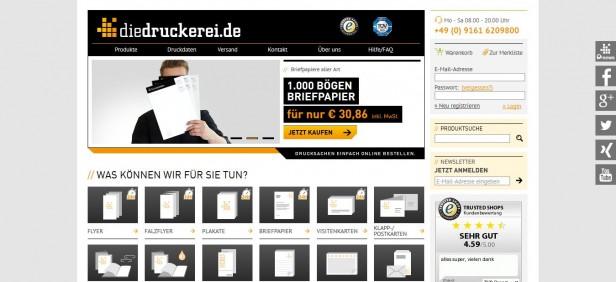 Abb. 1: Startseite von diedruckerei.de mit schnellem Direkteinstieg in Bestseller-Kategorien
