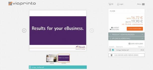 Abb. 3: Anschauliche und attraktive Flyervorschau bevor Kunden das Produkt verbindlich kaufen bei viaprinto.de. Diese stellt eine hilfreiche Funktion für den Entscheidungsprozess dar