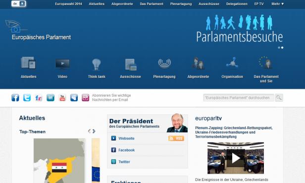 Abb. 2: Startseite EU-Parlament