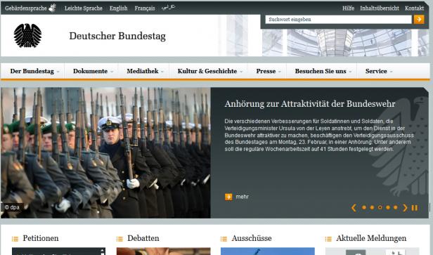 Abb.3: Startseite Deutscher Bundestag