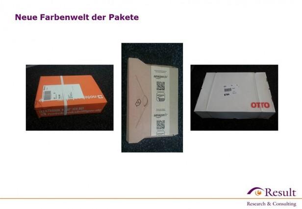 Abb. 1: Unterschiedliche Paketfarben der Online-Shops