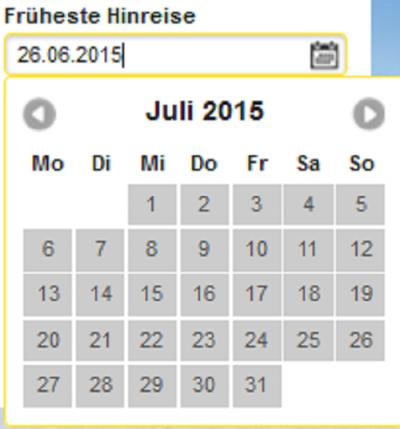 Abb. 2: Datumsauswahl mittels Kalenderfunktion