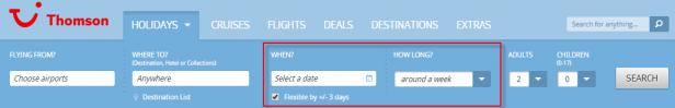 Abb. 6: Alternative Datumsauswahl mit lediglich zwei Eingaben: Hinreise und Dauer