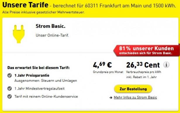 """Abb. 3: Mit """"Social Proof"""" begründete Empfehlung auf yellostrom.de"""
