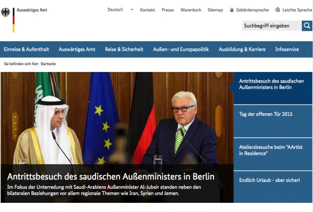 Screenshot Website Außenministerium