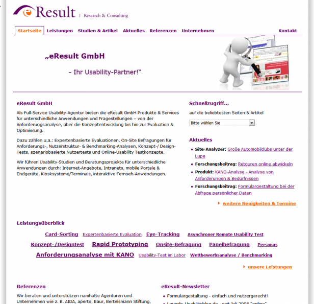 Abbildung 4 eResult Website, 3. Relaunch Ende 2007