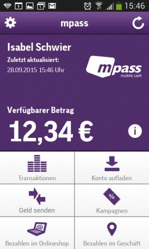 Screenshot mpass App: Verfügbarer Betrag nach Einkauf bei Aldi