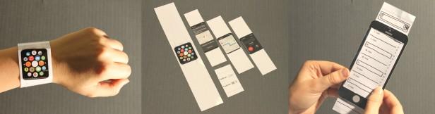 Papierprototypen wie diese sollten auch bei Anwendungen für Smartwatches zum Einsatz kommen.