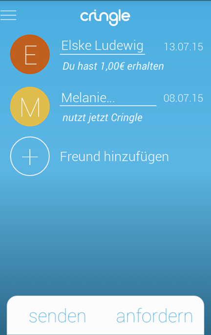 Screenshot Cringle App: Übersicht Kontakte