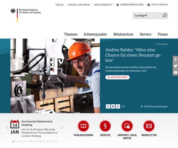 Screenshot Website Sozialministerium