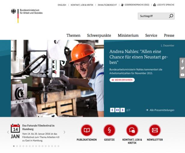 Screenshot Website Sozialministerium