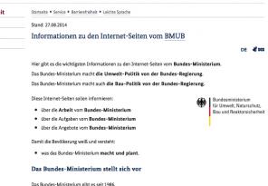 Screenshot Website Umweltministerium Leichte Sprache