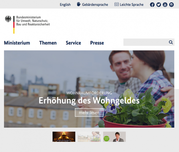 Screenshot Website Umweltministerium