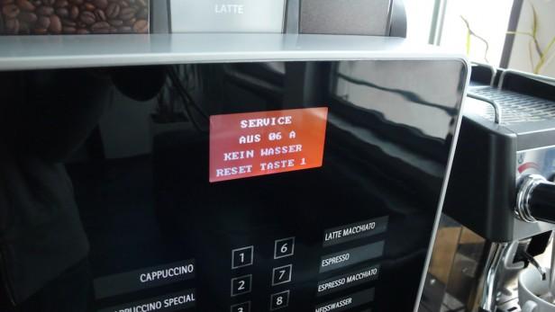 Fehlermeldung bei Kaffeemaschine