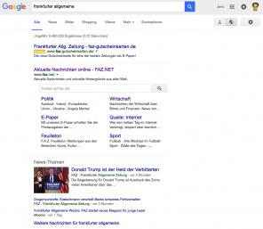 Screenshot Treffer Suche nach FAZ