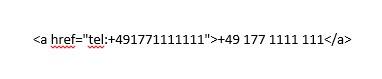 HTML-Code Telefonnummer