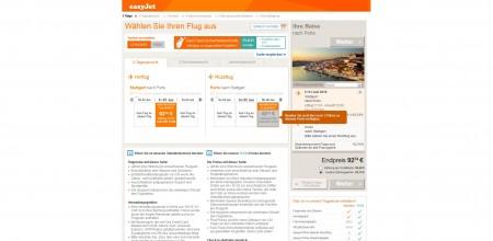 Buchungsmaske bei Flugbuchung mit easyjet.com