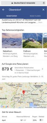 Screenshot Google-Recherche Reiseziele Deutschland