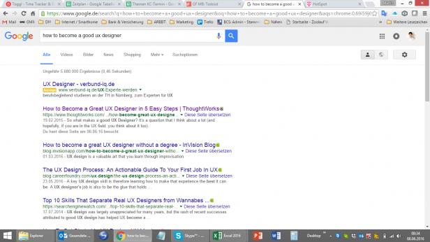Google-Suche, wie man ein guter UX Designer wird