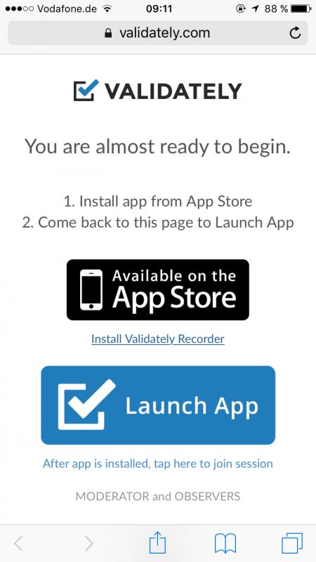 Installation der Validately-Applikation