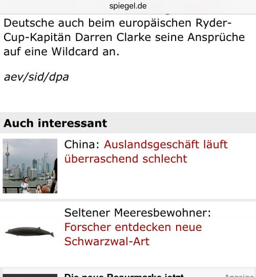 Línks am Ende eines Textes bei Spiegel.de