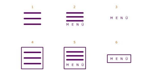 Varianten der Burger-Menü-Darstellung