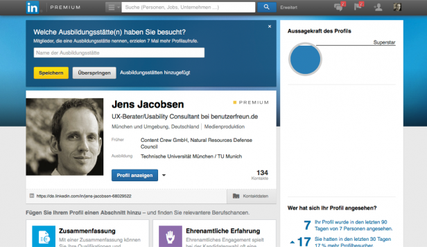 Screenshot LinkedIn Gamification-Elemente