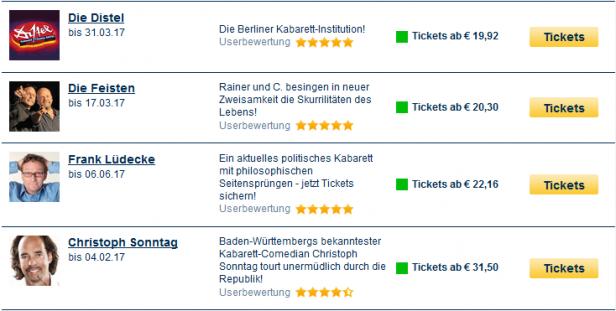 Übersichtliches Trefferergebnis auf eventim.de
