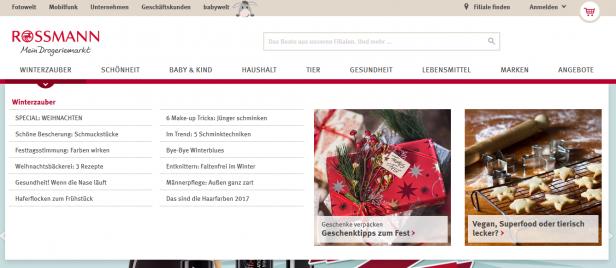 Die Rossmann-Startseite im Internet