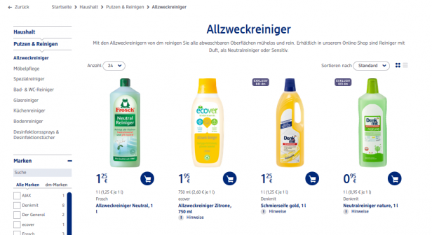 Produktauswahl auf dm.de
